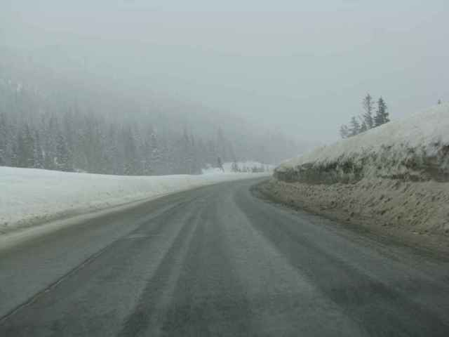 Coquihalla Highway - note the hieght of the snow