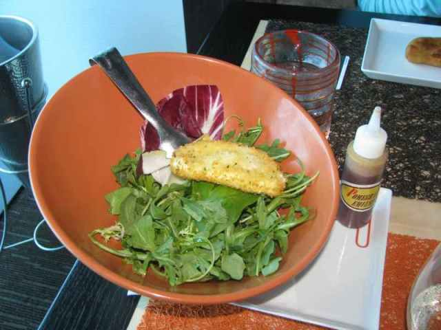 Green Salad with Deep Fried Blue Cheese