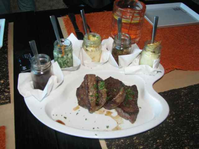 Painters Pallet -  Filet mignon - Then you make your own dish with the sauces above the beef