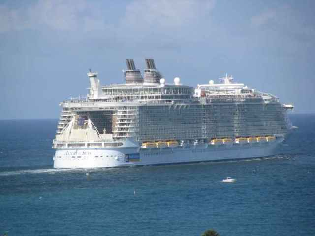 Allure of the Seas sailing into the sunset