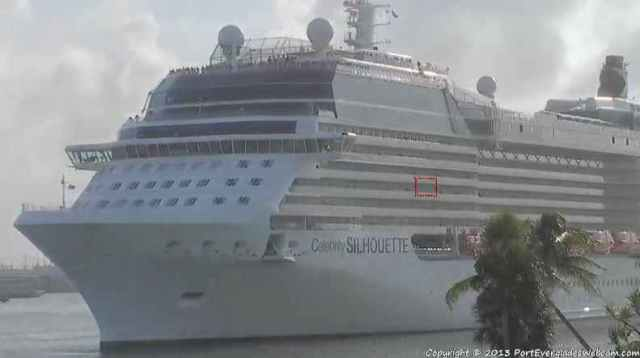 Our ship sailing from Fort Lauderdale -  My cabin in the red box