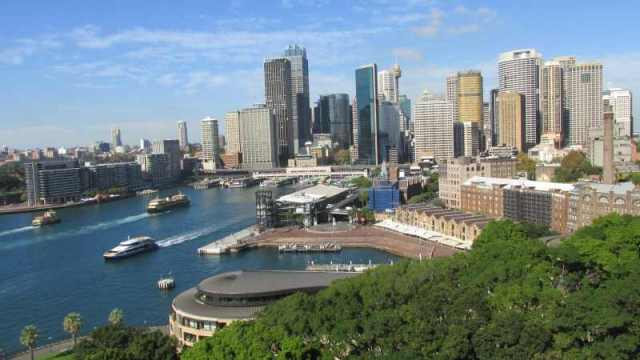 view of Circular Quay from the bridge